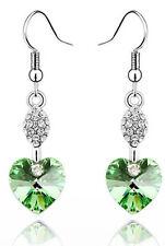 Austrian Crystal Green Heart Rhinestone Drop Earrings E412