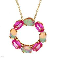 STUNNING SOLID 10K YELLOW GOLD SAPPHIRE AND OPAL CIRCLE NECKLACE