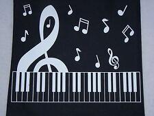 "Heavy PIANO KEYBOARD Music Bag Large G Clef 16"" x 15"" Black & White Brand NEW"