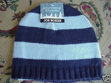 NWT Misses Joe Boxer Soft Knit Winter Hat Ice Blue Navy