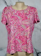 JONES NEW YORK SPORT Cerise Pink Multicolor Paisley Print T Shirt Top XL Cotton