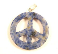Simple Vintage White And Navy Blue Gemstone Peace Sign Necklace Pendant *Y944