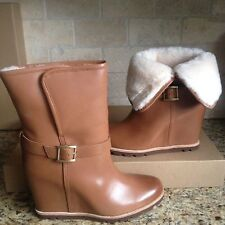 """UGG Ellecia Chestnut Leather Fur Cuff 3"""" Wedge Ankle Boots Size US 6 Womens"""