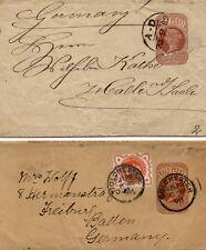Großbritanien vier Brief/Ganzsachen mit Zusatzfrankaturen aus 1889 - 1899
