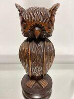 VINTAGE FOLK ART OWL WOOD HAND CARVED SCULPTURE