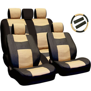 For Jeep Car Truck Seat Steering Covers PU Leather Front Back Set BT New