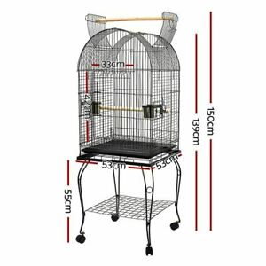 Pet Stand-alone Budgie Bird Large Perch Castor Cages Wheels Parrot Aviary 150CM