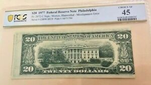 1977 $20 *ERROR* Misaligned Federal Reserve Note FRN Fr. 2072-C XF-45 PCGS