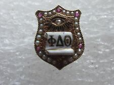 Antique 14k Solid Gold Phi Delta Theta Fraternity Pin W/Gems