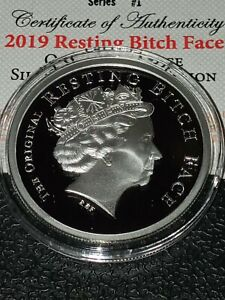 2019 SILVER SHIELd 1oz silver Resting Bitch Face PROOF Queens Beasts low coa