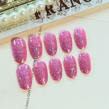 UV Finished Fake Nails Large Sequins Glitter False Nail Tips Pink Full Wrap Z288