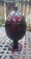 VTG Ruby Red Glass Egg Pedestal Candy Dish Bowl Cristal D'arques Durand Luminarc