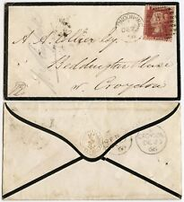 GB 1866 ROYAL THAMES YACHT CLUB EMBOSSED FLAP MOURNING ENV PENNY RED Pl.73 EE