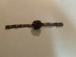 Womens Adjustable 1980's Navy Geometric Flower Neck Tie Vintage