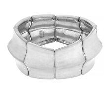 $65 Robert Lee Morris Soho Metal Segmented Ice Queen Stretch Wide Bracelet New