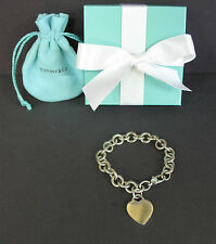 "Tiffany & Co Sterling Silver Heart Tag Charm Bracelet 7 3/4"" Box Pouch"