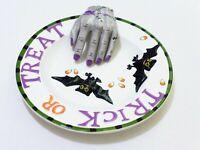 vintage Halloween Porcelain Serving Bowl - Trick or Treat Bats and goolish hand