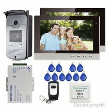 "10"" Video Door Phone Intercom 2Monitors+RFID Reader Doorbell Camera+Power+Remote"