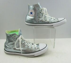Unisex Converse Silver High Top Lace Up Shoes Size : M9 / W 11