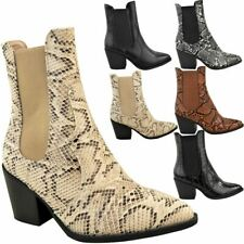 Womens Ladies Pull On Ankle Boots Western Pointed Toe Mid High Block Heel Shoes