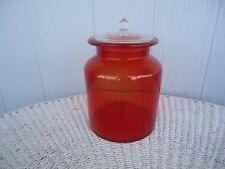 vintage retro orange art glass  canister