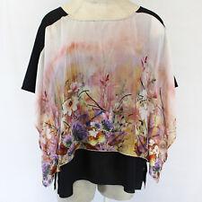 Citron Clothing Enhanced Magnolia Garden Silk  Kimono Blouse Top Plus 3X