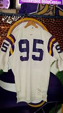 MINNESOTA VIKINGS #95 PSA AUTHENTIC SAND-KNIT GAME JERSEY 1970'S / 1980'S SZ 46