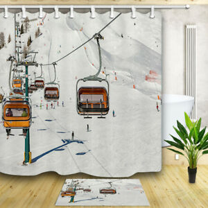 Winter Ski Slope Snow Waterproof Polyester Fabric Shower Curtain / Bathroom Mat