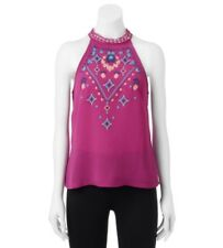 Embroidered Sleeveless Blouse Boho Floral and Tribal in purple fuschia Sz M NWT