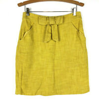 Milly New York Womens 8 Yellow Tweed Skirt Straight Pencil Bow Front