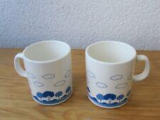 2 Emsa Kaffeetassen Tassen Mugs Plastik blau weiß bäume Wolken 80er Jahre