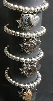 Mum Mummy love you to the moon and back stretch bracelet with hearts and stars