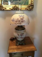 Vintage Lions Head Rayo Oil Lamp Converted To Electric Farm Scene Shade