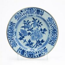 FINE ANTIQUE CHINESE BLUE & WHITE FLORAL PLATE 18/19TH C.