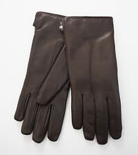 FRATELLI ORSINI Dark Brown Leather RABBIT FUR Lined Gloves 8 ITALY