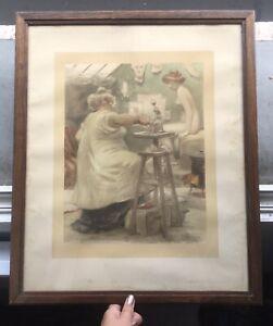 Lithographie Originale Atelier Sculpteur Nu Féminin Albert Guillaume (1873-1942)