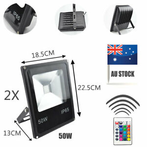 Remote Control 2pcs 50W RGB Flood Light for Garden 4 Modes LED Stage Lighting