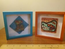 2 Contemporary Northwest Native Art Totem Raven Bear Collage Frames Paula Galvao