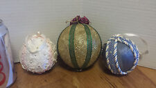 3 Handmade Christmas tree ornaments Handcrafted Fabric Holiday gold roses lace