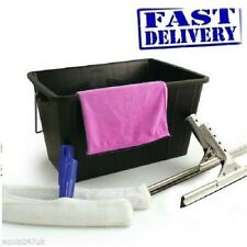 Professional 6 Piece Window Cleaning Kit Wash Bucket Squeegee Pink Microfibre