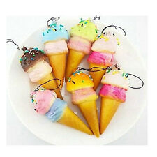 Squishy Gift Cell phone Charm Pretty Ice cream Key Chain with Sprinkls Bag Strap