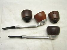 Lot Estate Smoking Pipe Briars Falcon Stems w/4 Bowls Metal Stem Interchangeable