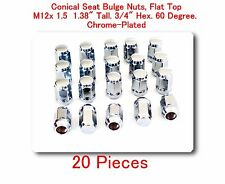 """20 Pc Conical Seat Bulge Nuts Flat Top M12x1.5 Tall 1.38"""" 3/4"""" Hex. 60 Degree"""