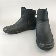 Ecco Size 40 UK6.5-7 Black Leather Ankle Double Zip Up Comfort Boots Fully Lined
