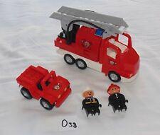LEGO DUPLO FIRE ENGINE TRUCK & CAR FIREMAN SET. VEHICLES FIGURES BUNDLE LOT O38