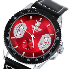 New Gents Fashion Automatic Mechanical Date Black Leather Sport Wrist Watch USA
