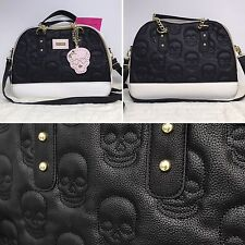 Betsey Johnson Black White Skull Quilted Dome Purse Satchel Pink Accent Mirror