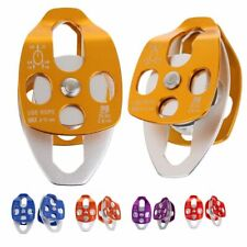 2x 32kn Swing Climbing Double Pulley Caving Rock Rappelling Rescue Rope System
