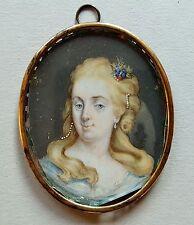 Miniatur Portrait einer Dame mit Perlen im Haar, Gouache, 18. Jahrhundet