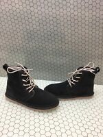 UGG Australia HARKLEY Navy Blue Suede Shearling Lined Lace Up Boots Men's Size 8
